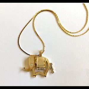 Vintage Gold-tone & Rhinestone Elephant Necklace